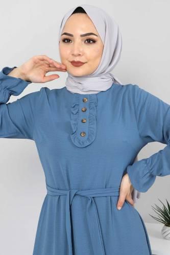 Eteği Volanlı Tesettür Elbise TSD4400 İndigo - Thumbnail