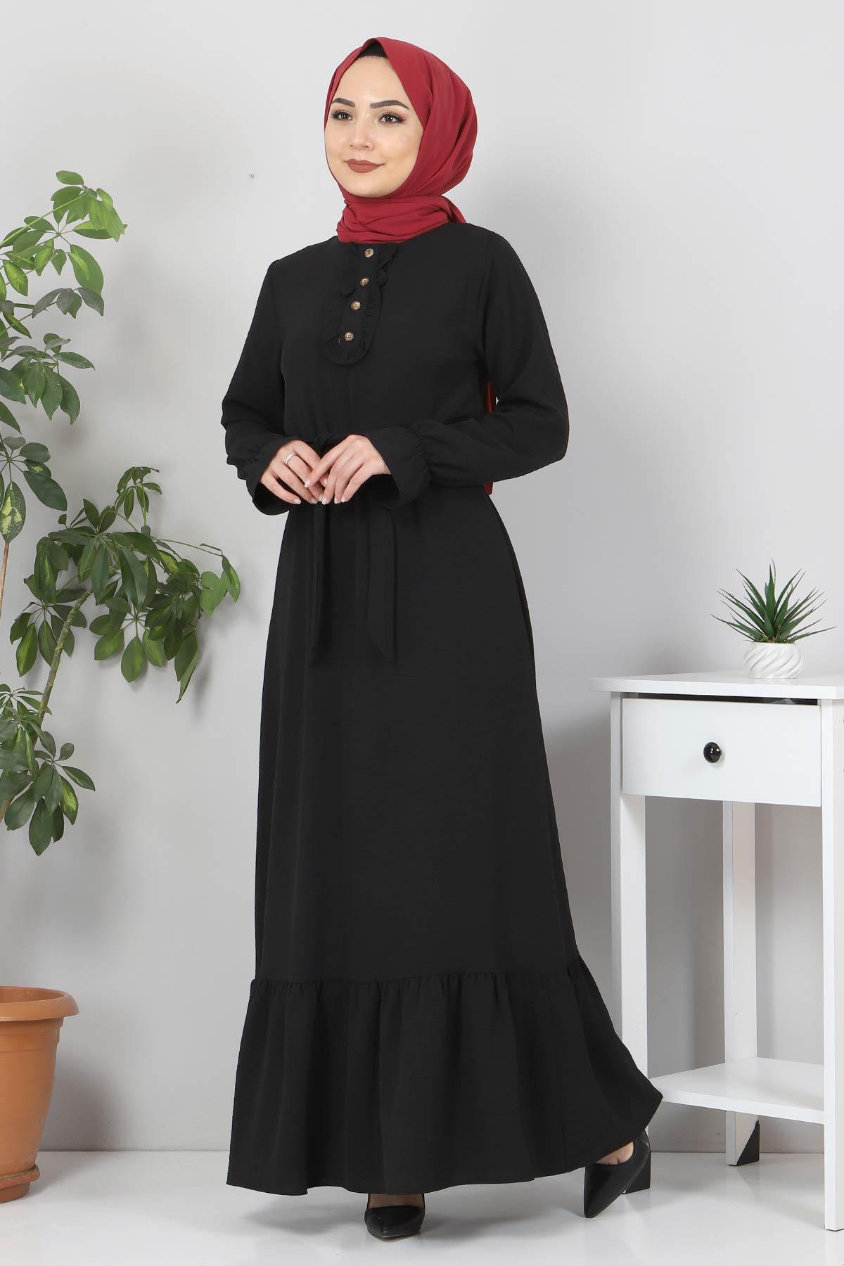 Eteği Volanlı Tesettür Elbise TSD4400 Siyah