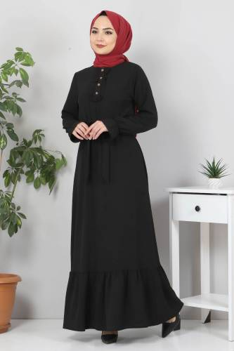 Eteği Volanlı Tesettür Elbise TSD4400 Siyah - Thumbnail