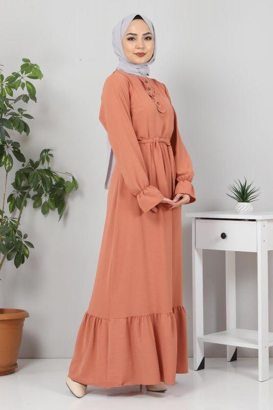 Eteği Volanlı Tesettür Elbise TSD4400 Somon