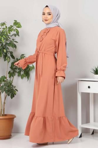 Eteği Volanlı Tesettür Elbise TSD4400 Somon - Thumbnail