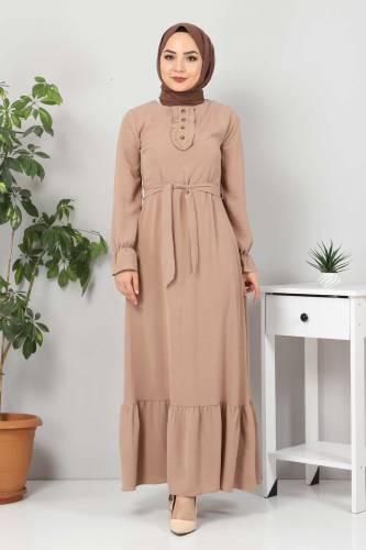 Eteği Volanlı Tesettür Elbise TSD4400 Vizon - Thumbnail