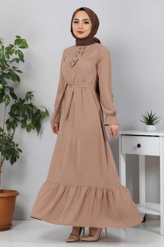 Eteği Volanlı Tesettür Elbise TSD4400 Vizon