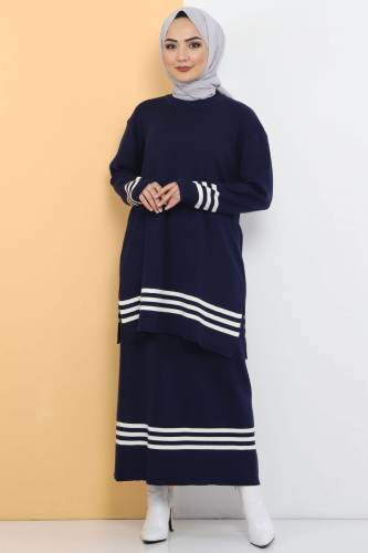 Tesettür Dünyası - Skirt Tricot Double Suit TSD22222 Navy Blue