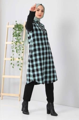 Tesettür Dünyası - Fermuar Detaylı Ekose Tunik TSD3330 Mint Yeşili (1)