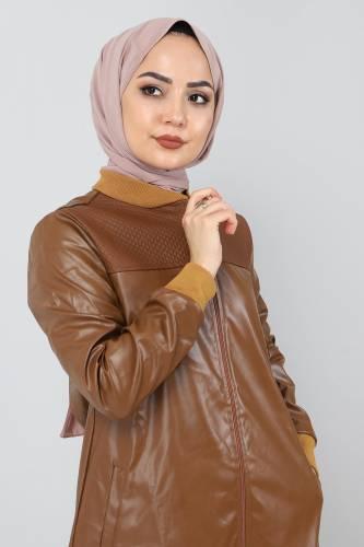 Tesettür Dünyası - Women's Zippered Cap TSD7743 Tobacco (1)