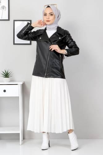 Tesettür Dünyası - Zippered Leather Short Jacket TSD5506 Black (1)