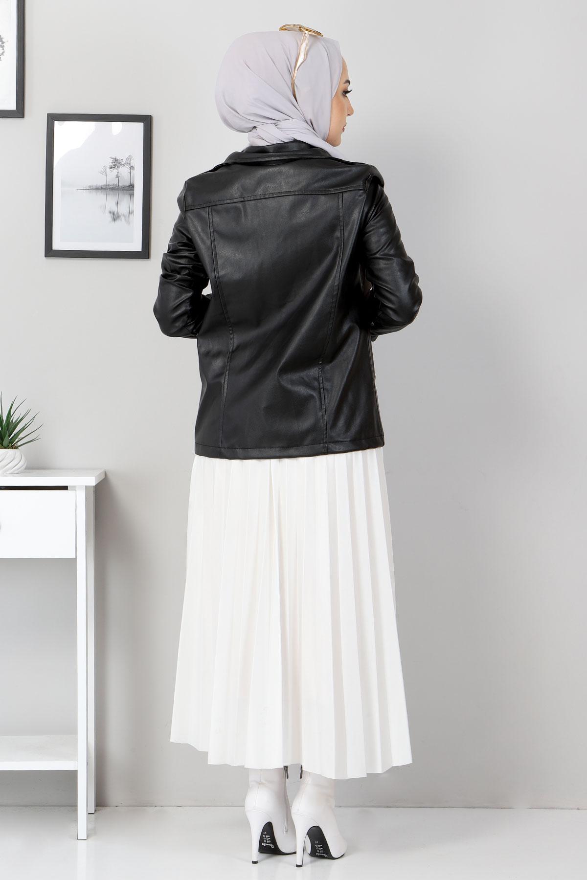 Fermuarlı Deri Kısa Ceket TSD5506 Siyah