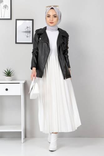 Tesettür Dünyası - Zippered Leather Short Jacket TSD5506 Black