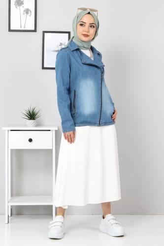 Fermuarlı Kısa Kot Ceket TSD4194 Açık Mavi - Thumbnail