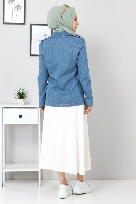 Fermuarlı Kısa Kot Ceket TSD4194 Açık Mavi