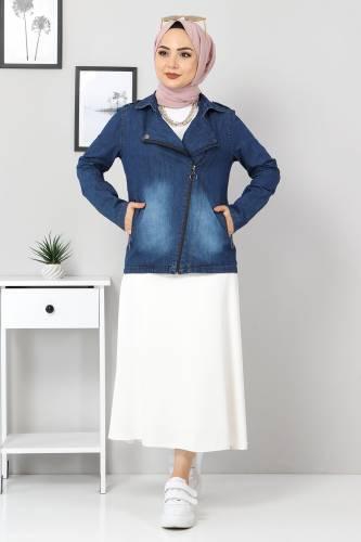 Tesettür Dünyası - Fermuarlı Kısa Kot Ceket TSD4194 Koyu Mavi