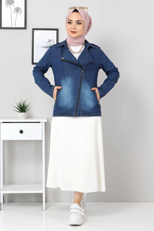 Fermuarlı Kısa Kot Ceket TSD4194 Koyu Mavi