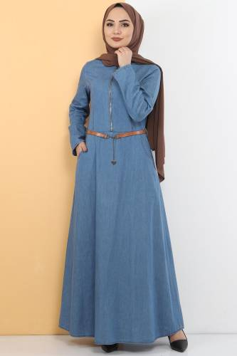 Tesettür Dünyası - Fermuarlı Tesettür Kot Elbise TSD1605 Açık Mavi