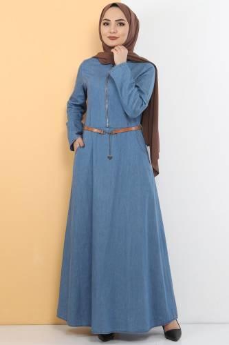 Fermuarlı Tesettür Kot Elbise TSD1605 Açık Mavi - Thumbnail