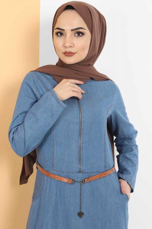 Fermuarlı Tesettür Kot Elbise TSD1605 Açık Mavi