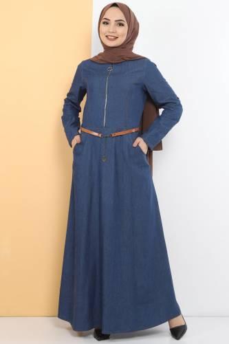 Tesettür Dünyası - Fermuarlı Tesettür Kot Elbise TSD1605 Koyu Mavi