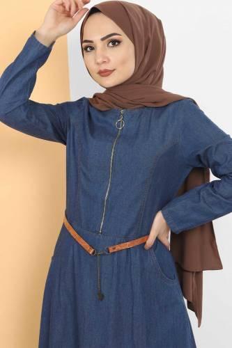 Tesettür Dünyası - Fermuarlı Tesettür Kot Elbise TSD1605 Koyu Mavi (1)