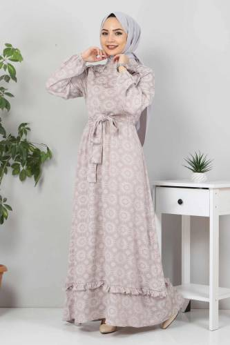 Fırfır Detaylı Tesettür Elbise TSD02643 Vizon - Thumbnail