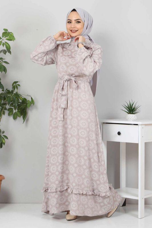 Fırfır Detaylı Tesettür Elbise TSD02643 Vizon