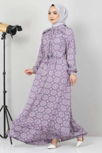 Fırfır Detaylı Tesettür Elbise TSD2643 Lila - Thumbnail