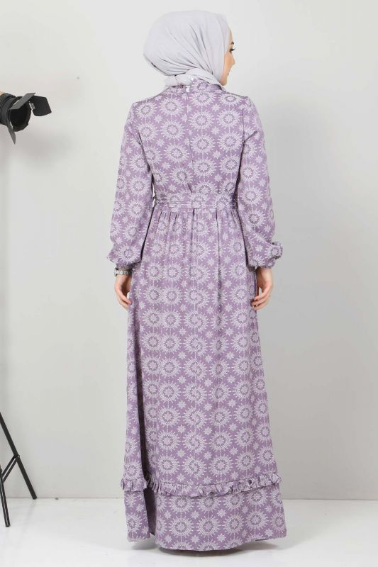 Fırfır Detaylı Tesettür Elbise TSD2643 Lila