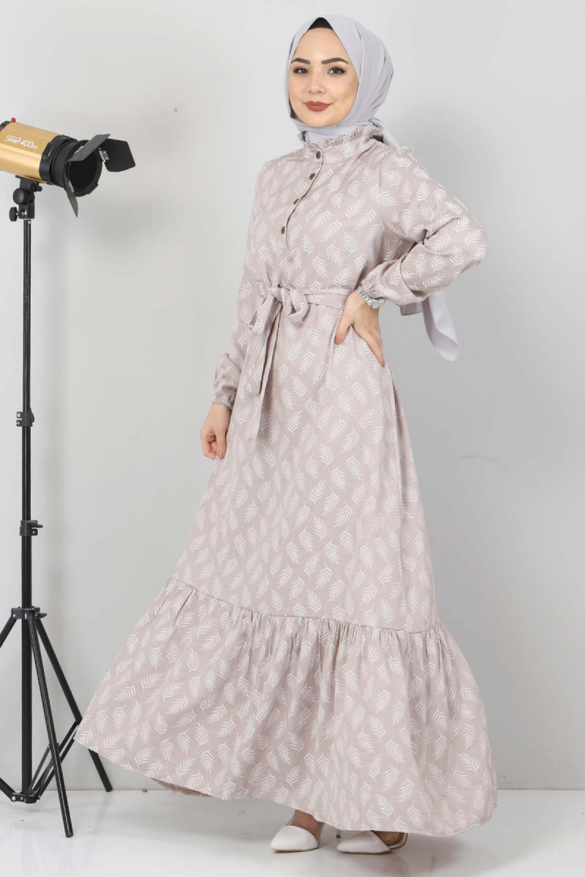 Fırfır Detaylı Tesettür Elbise TSD2643 Vizon