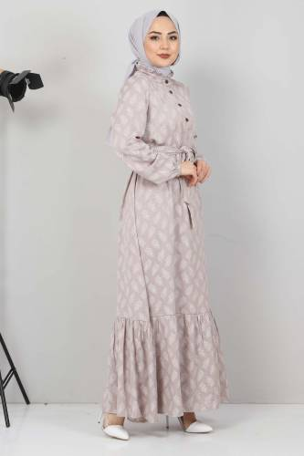 Fırfır Detaylı Tesettür Elbise TSD2643 Vizon - Thumbnail