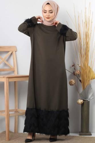 Fringe embellished dress TSD0963 Khaki - Thumbnail