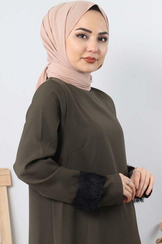 Fringe embellished dress TSD0963 Khaki