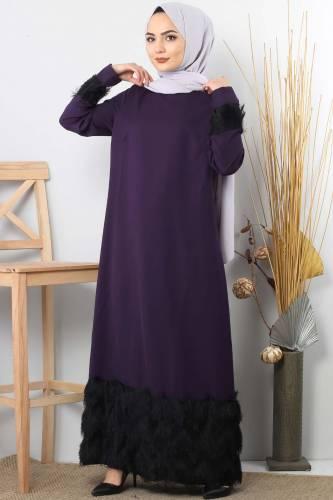 Fringe embellished dress TSD0963 Purple - Thumbnail