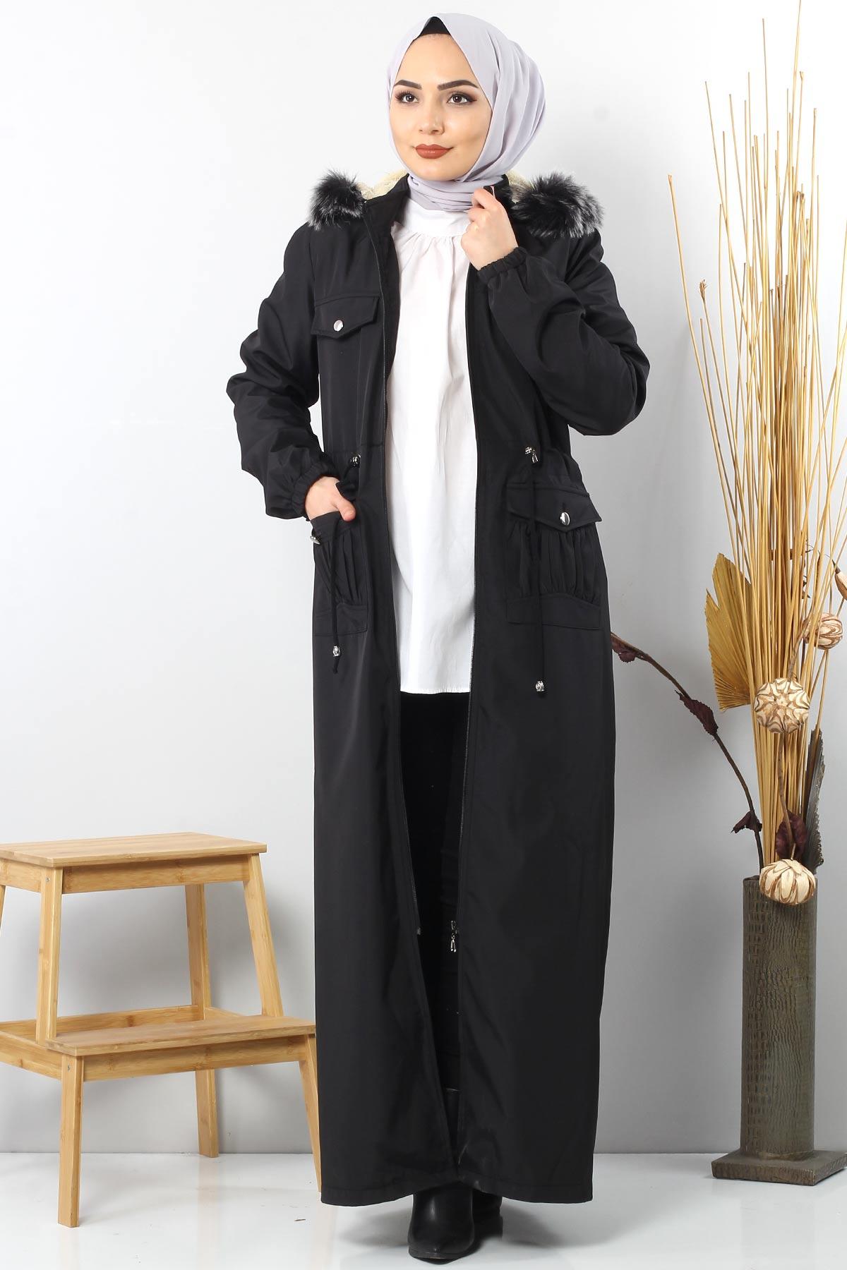 Full length coat TSD8907 with pockets Black.