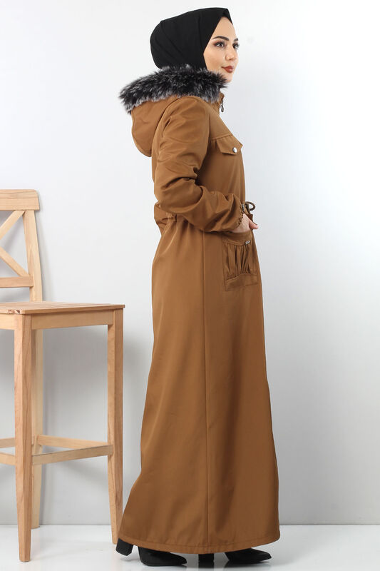 Full length coat TSD8907 with pockets Brown.