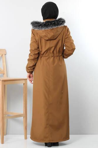 Full length coat TSD8907 with pockets Brown. - Thumbnail