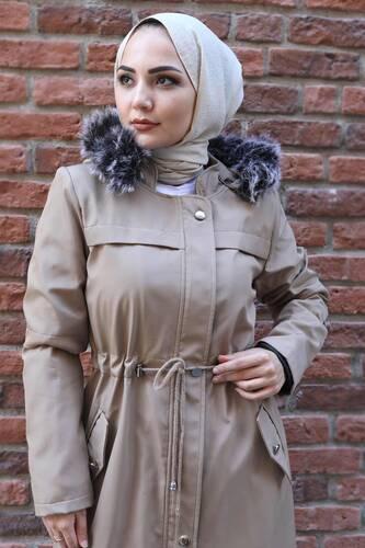 Tesettür Dünyası - Full Length Fur Coat TSD0883 Beige (1)