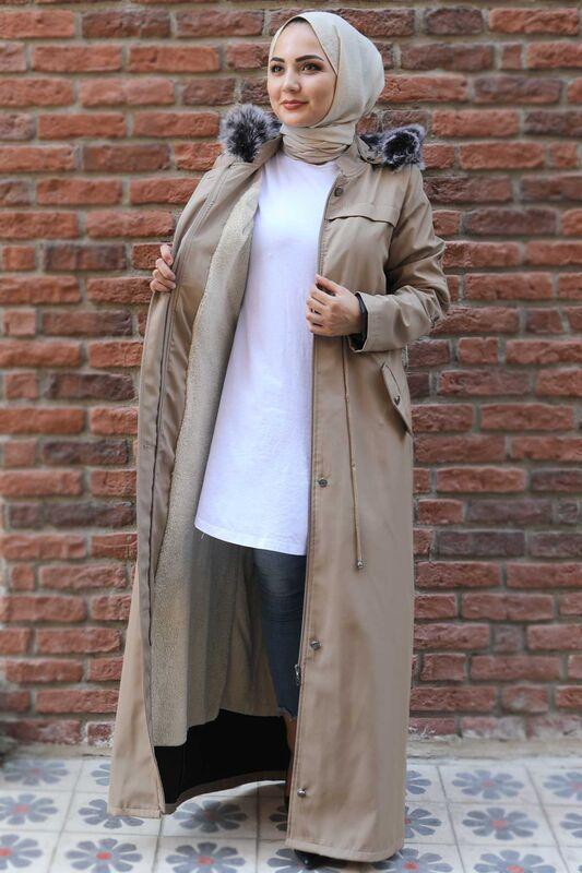 Full Length Fur Coat TSD0883 Beige