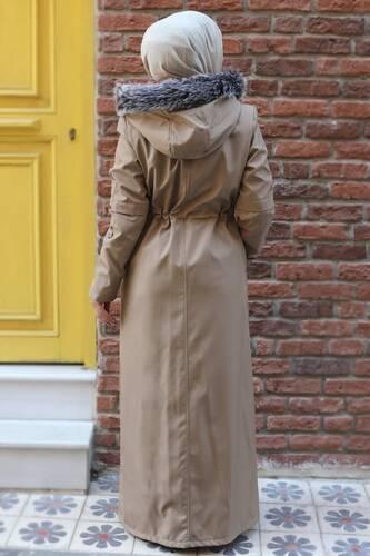 Full Length Fur Coat TSD0883 Beige - Thumbnail