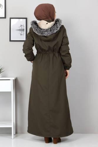Full Length Fur Coat TSD0883 Khaki - Thumbnail