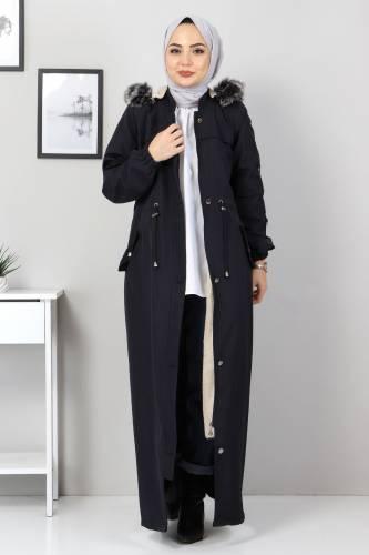 Full Length Fur Coat TSD0883 Navy Blue - Thumbnail