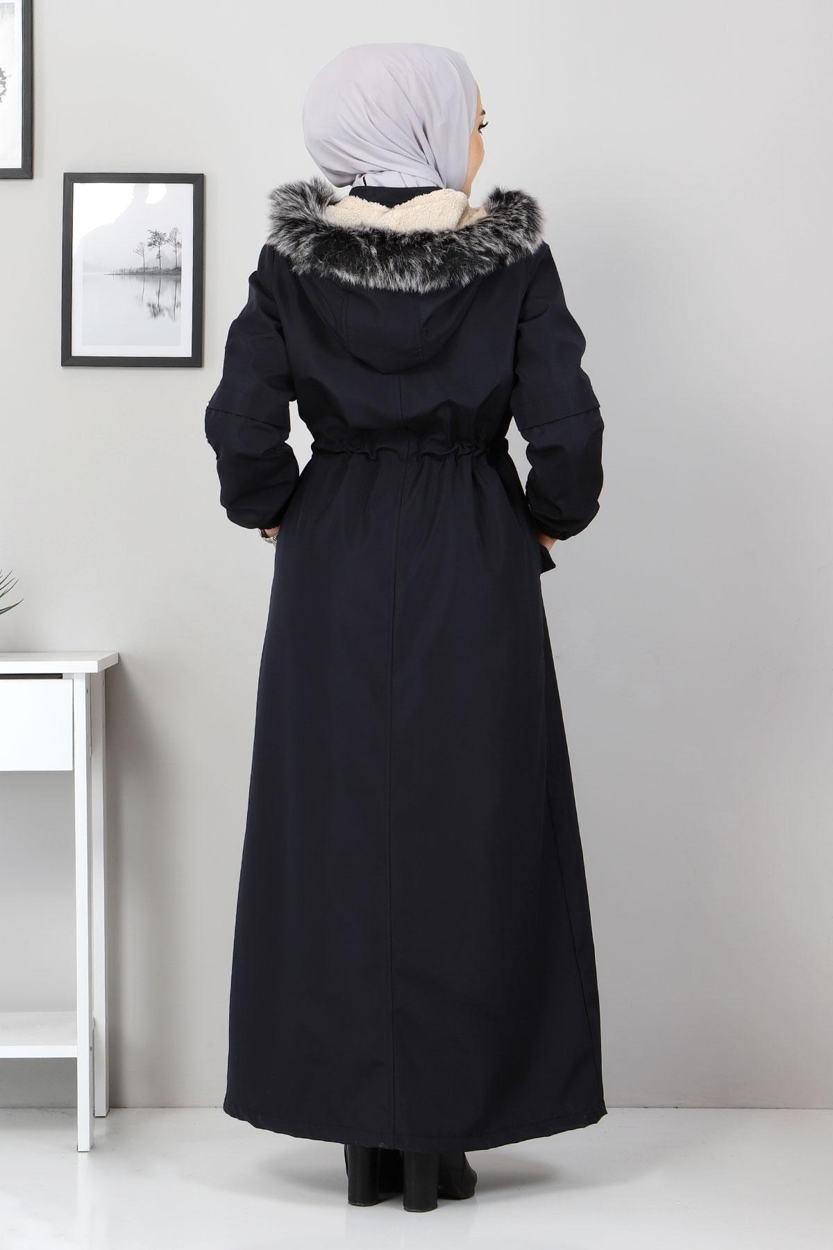 Full Length Fur Coat TSD0883 Navy Blue