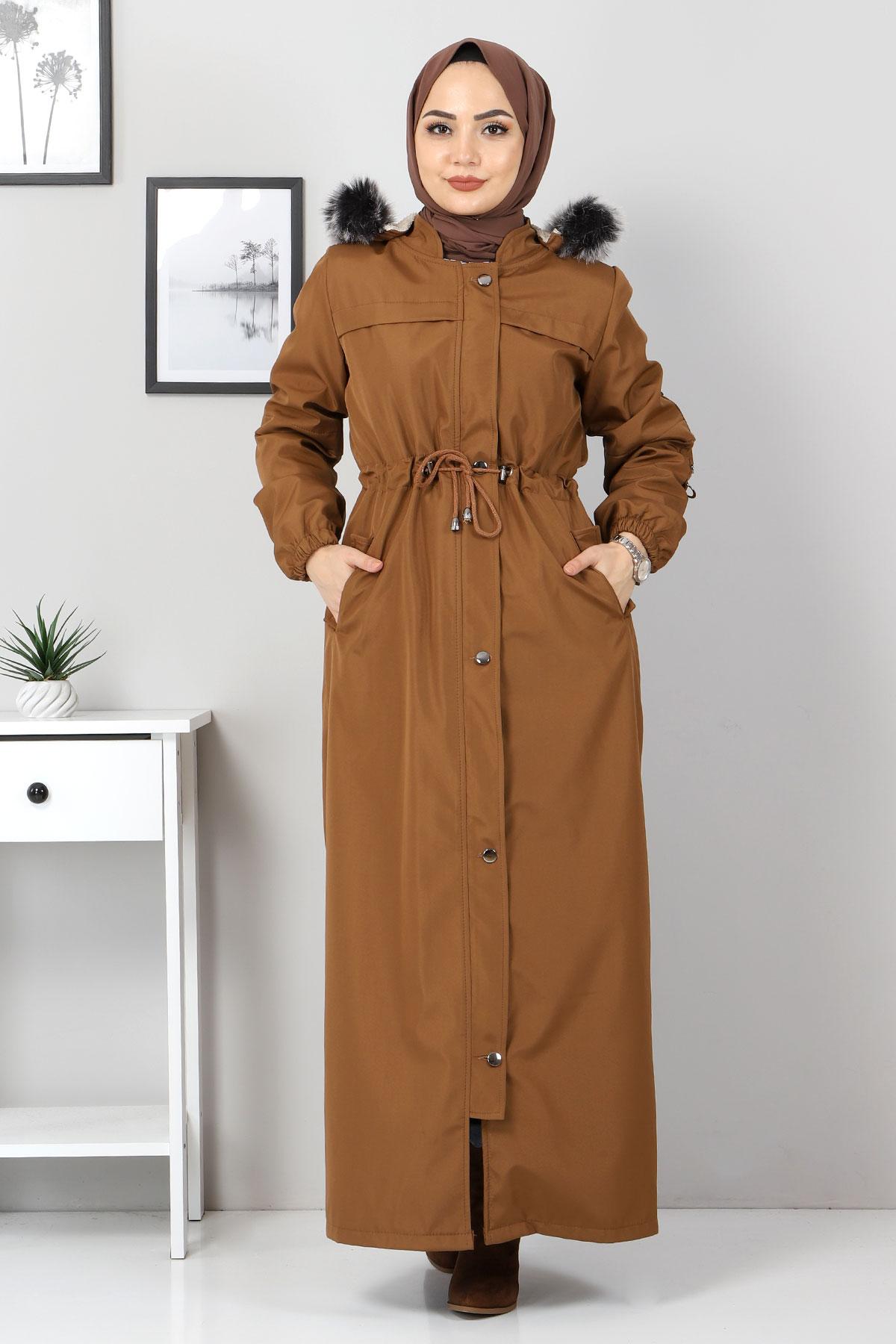 Full Length Fur Coat TSD0883 Taba