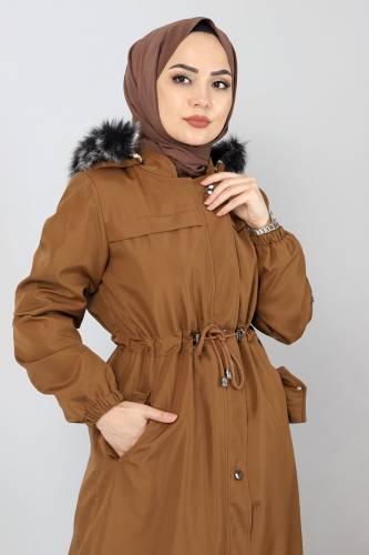 Full Length Fur Coat TSD0883 Taba - Thumbnail
