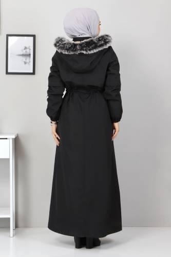 Fur Length Coat TSD0883 Black - Thumbnail