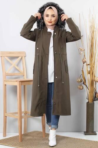 Tesettür Dünyası - Furry Coat TSD1870 Khaki