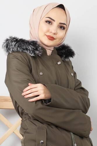 Tesettür Dünyası - Furry Coat TSD1870 Khaki (1)
