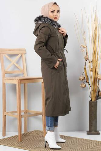 Furry Coat TSD1870 Khaki - Thumbnail