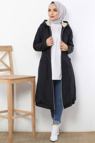 Furry Hooded Coat TSD1632 Black - Thumbnail