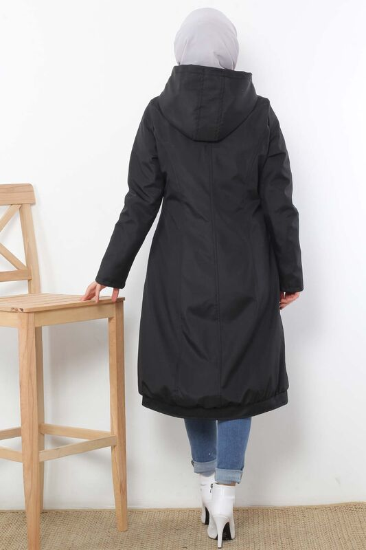 Furry Hooded Coat TSD1632 Black