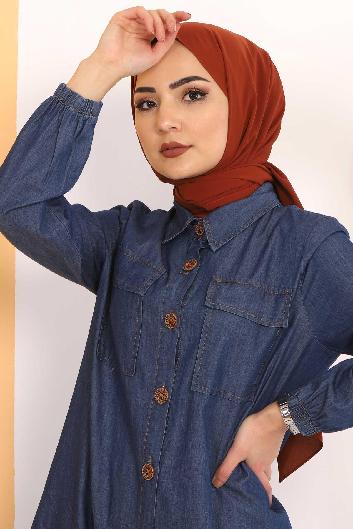 Gathered Skirt Double Jeans Suit TSD0450 Dark Blue