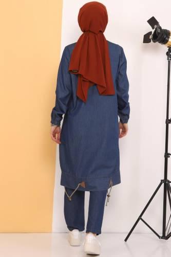 Gathered Skirt Double Jeans Suit TSD0450 Dark Blue - Thumbnail